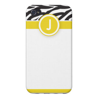 4 Funky Zebra Lemon/Black Cover For iPhone 4