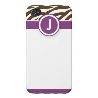 4 Funky Zebra Purple/Chocolate iPhone 4 Case