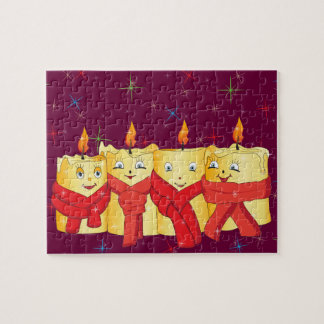 4 golden candles with red scarf and stars 2013 puzzle