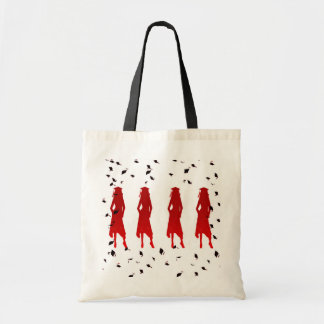 4 Grad Girl Silhouettes in Red Tote Bag