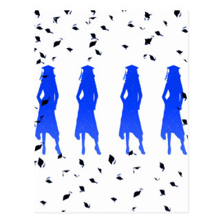 4 graduado femenino valiente Silhouttes en azul Postales