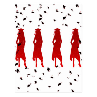 4 graduado femenino valiente Silhouttes en rojo Tarjeta Postal