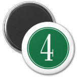 #4 Green Circle 2 Inch Round Magnet