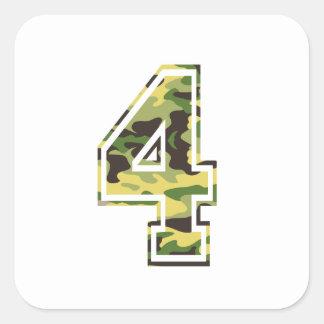 #4 Green & Yellow Camo Square Sticker