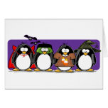 4 Halloween Penguins Greeting Cards