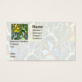 4 Hand Carved Trees in Watercolor and Pen & Ink Business Card