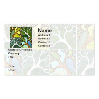 4 Hand Carved Trees in Watercolor and Pen & Ink Double-Sided Standard Business Cards (Pack Of 100)