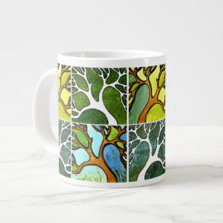 4 Hand Carved Trees in Watercolor and Pen & Ink Giant Coffee Mug
