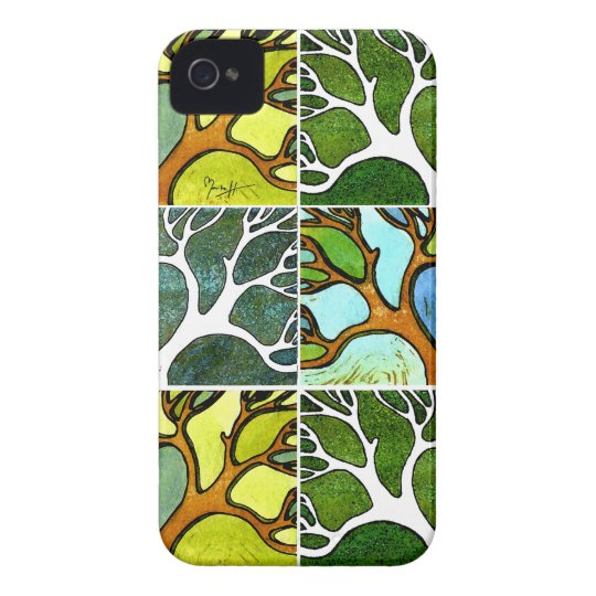 4 Hand Carved Trees in Watercolor and Pen & Ink iPhone 4 Case-Mate Case