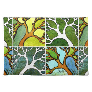 4 Hand Carved Trees in Watercolor and Pen & Ink Placemat