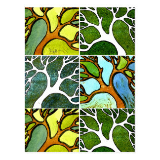 4 Hand Carved Trees in Watercolor and Pen & Ink Postcard
