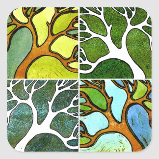 4 Hand Carved Trees in Watercolor and Pen & Ink Square Sticker