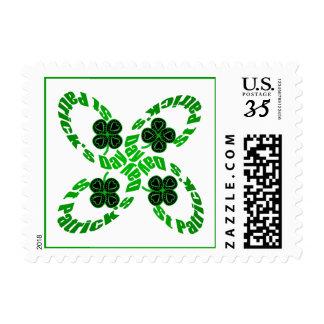 4 Happy St Patrick Clovers Stamp