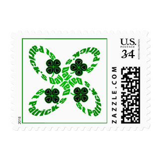 4 Happy St Patrick Clovers Stamp