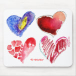 4 Hearts 4-ever on White Mousepad