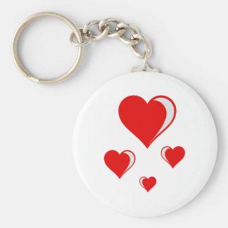 4 hearts basic round button keychain