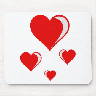 4 hearts mouse pad