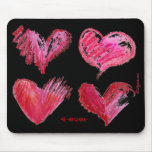 4 Hearts Pink 4-ever on Black Mousepad