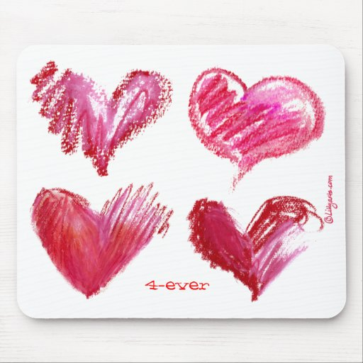 4 Hearts Pink 4-ever on White Mousepad