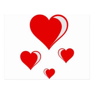 4 hearts postcard