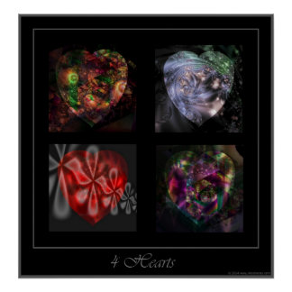 4 Hearts square poster