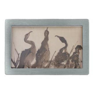 4 Herons Watercolor Belt Buckle