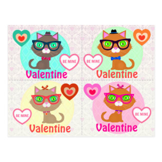 4 Hipster Cool Cat Valentines Cards