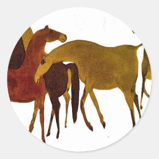 4-HORSES CLASSIC ROUND STICKER