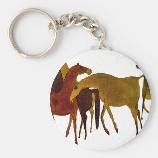 4-HORSES BASIC ROUND BUTTON KEYCHAIN