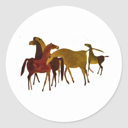 4-HORSES PEGATINA REDONDA