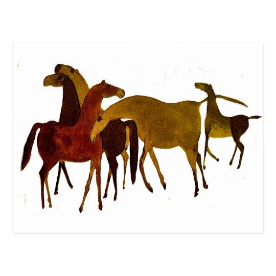 4-HORSES POSTCARD