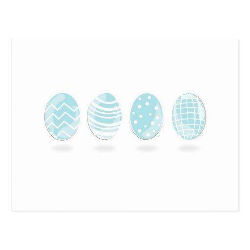 4 huevos de Pascua modelados azul Tarjeta Postal