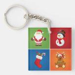 4-in-1 Christmas Santa Claus Stocking Snowman Deer Acrylic Key Chains