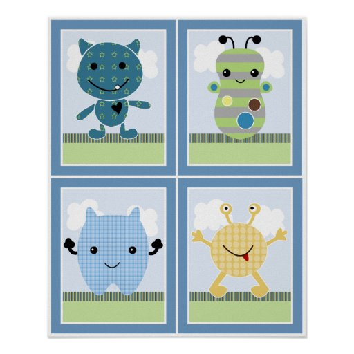 4 in 1 Peek a Boo Monsters 8x10 inch Nursery Art Poster