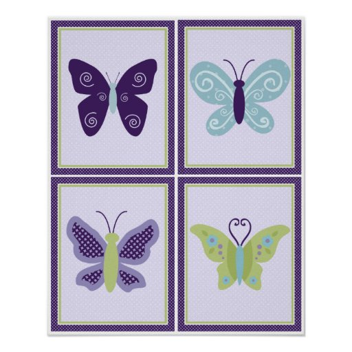 4 in 1 Set Beautiful Butterfly 8x10 inch Posters