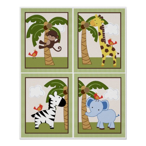 4 in 1 Set Jungle Buddies/Pals 8x10 inch Posters