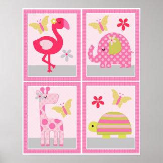 4 in 1 Snooze Safari 8x10 inch Nursery Art/Poster Poster
