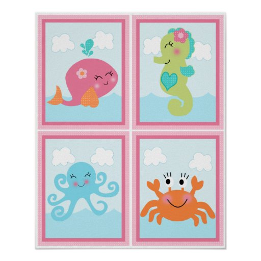 4 in 1 Under the Sea/Pink Whale 8x10 Nursery Art Poster