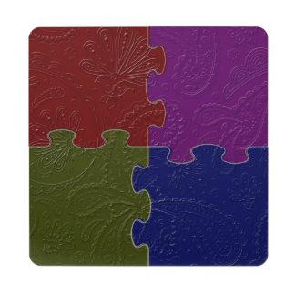 4 indio cuadrado Paisley 2 - posavasos de puzzle