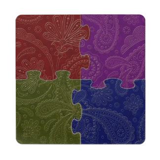 4 indio cuadrado Paisley 4 - posavasos de puzzle