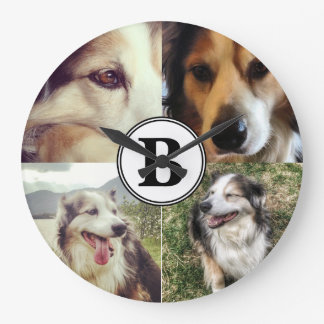 4 Instagram Photos and Monogram Personalized Wall Clock