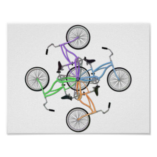 4 interlocking  different colored bicycles design poster