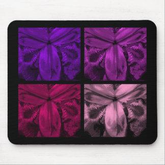 4 Irises: Quad Panel of Blooms 6 Gems Mouse Pad
