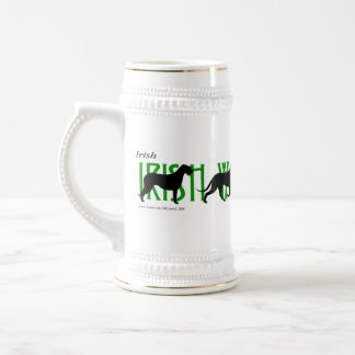 4 Irish Wolfhound Silhouettes Beer Stein