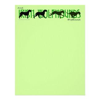 4 Irish Wolfhound Silhouettes Letterhead
