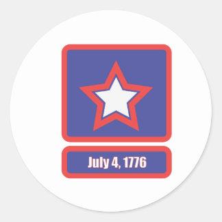 4 july army logo classic round sticker