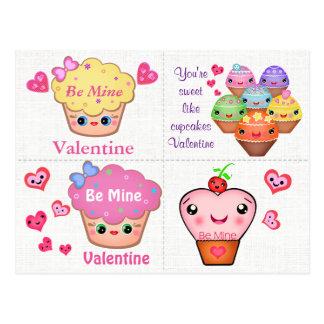 4 Kawaii Cupcake Valentines Cards