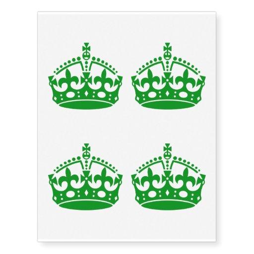 4 Keep Calm Crown Green Temporary Tattoos | Zazzle