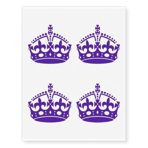 4 Keep Calm Crown Purple Temporary Tattoos Zazzle