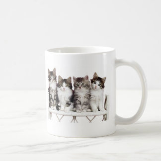 4 kittiens on a bench coffee mug